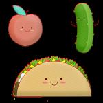 kawaii food, taco, pickle